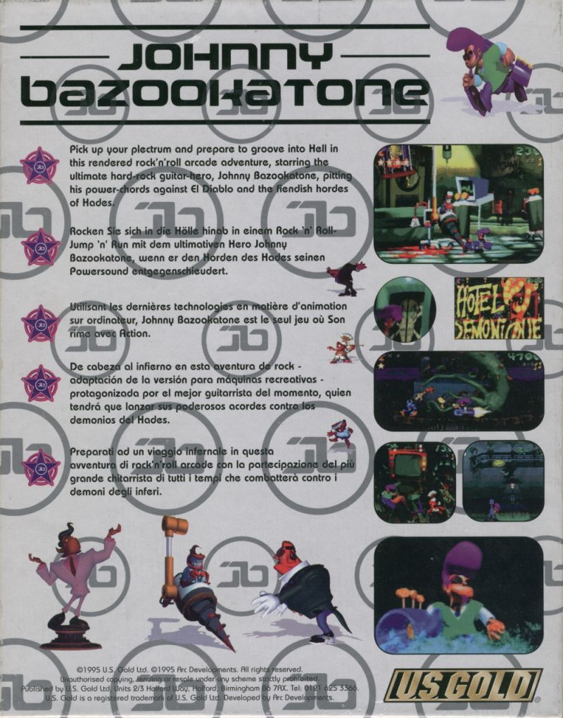 Johnny Bazookatone DOS Back Cover