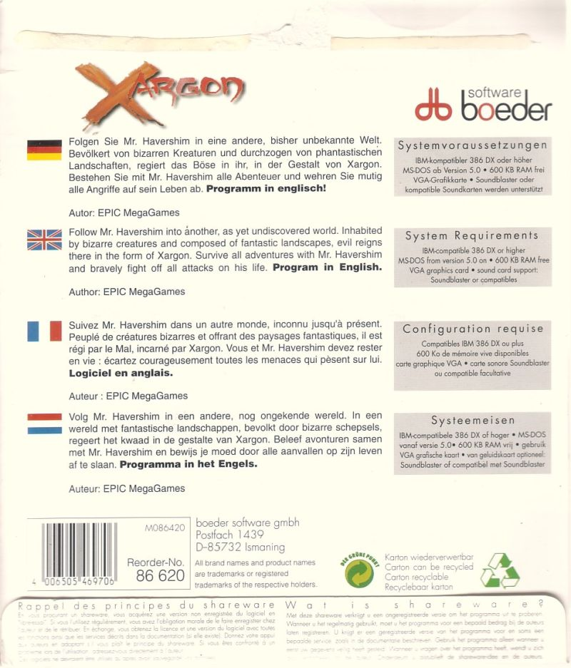 Xargon: The Mystery of the Blue Builders - Beyond Reality DOS Back Cover