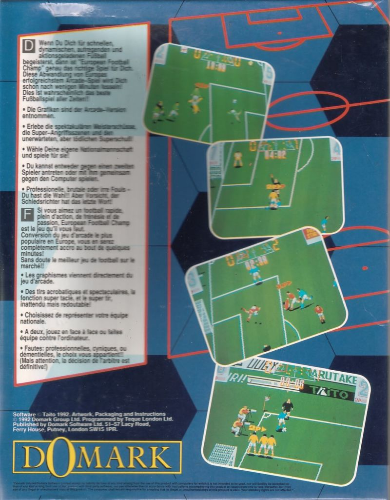 European Football Champ Commodore 64 Back Cover
