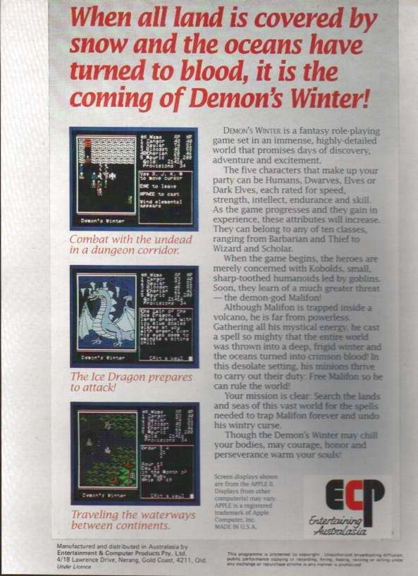 Demon's Winter DOS Back Cover