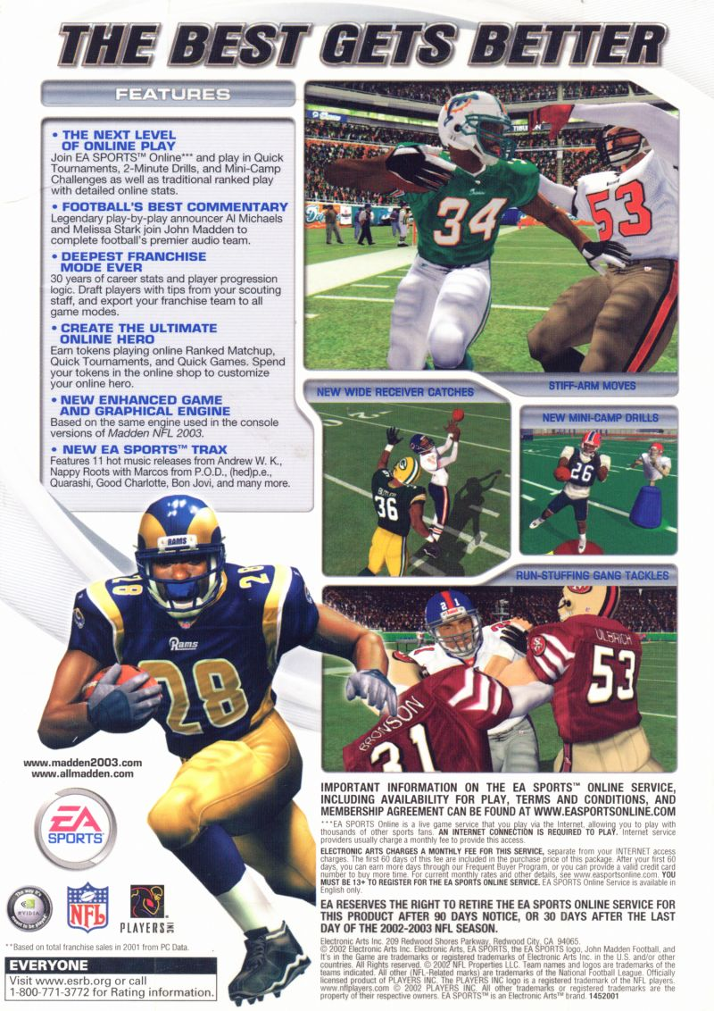 Madden NFL 2003 Windows Back Cover
