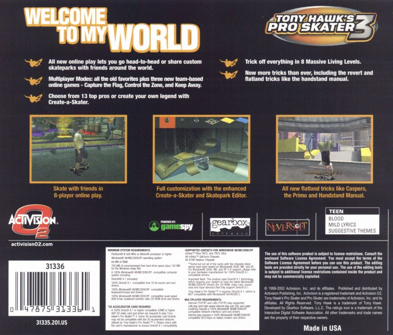 Tony Hawk's Pro Skater 3 Windows Other Jewel Case Back