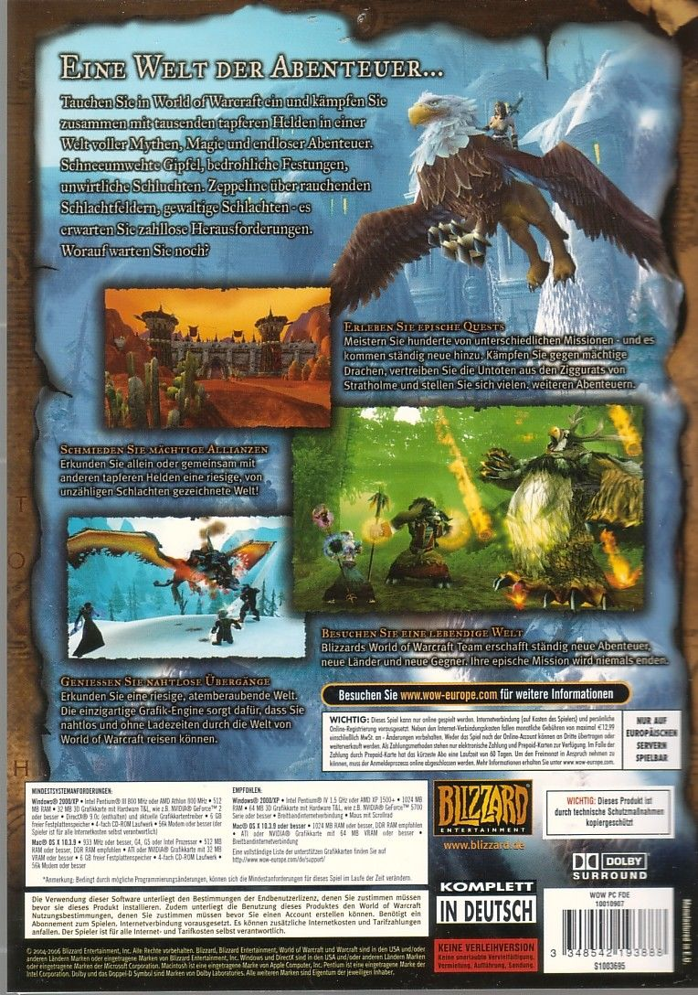 World of Warcraft Macintosh Back Cover