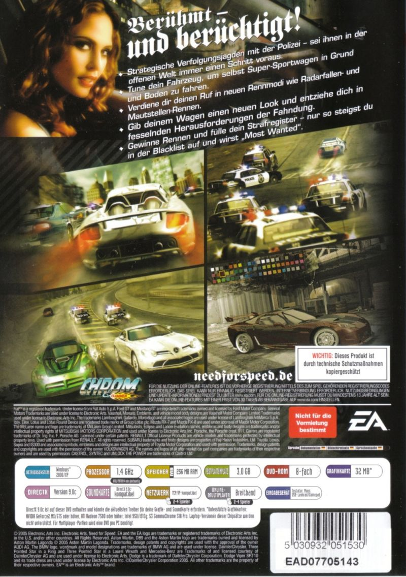 Need for Speed: Most Wanted (2005) GameCube box cover art - MobyGames