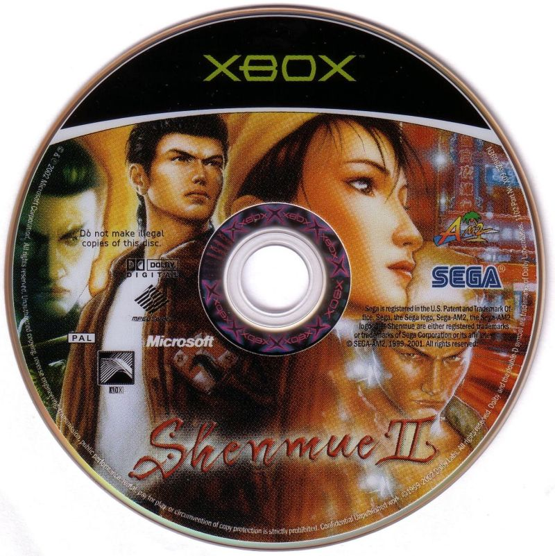 Shenmue II Xbox Media Game disc