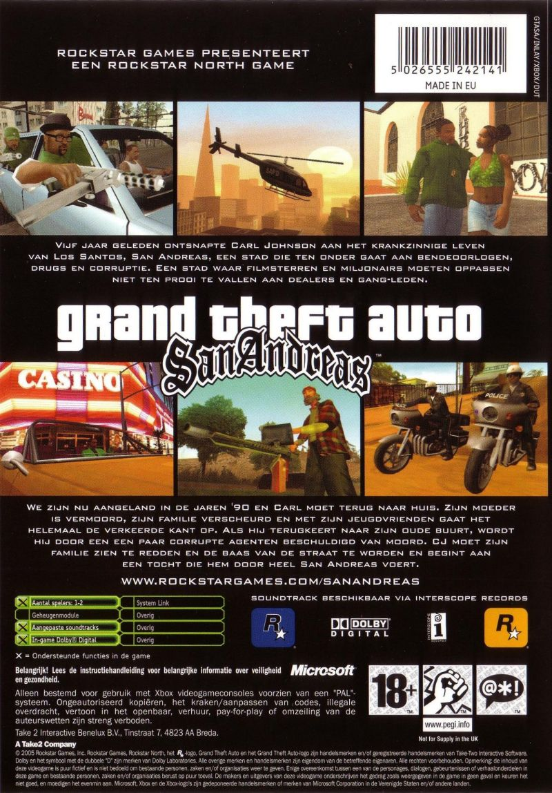 Grand Theft Auto: San Andreas Xbox Back Cover