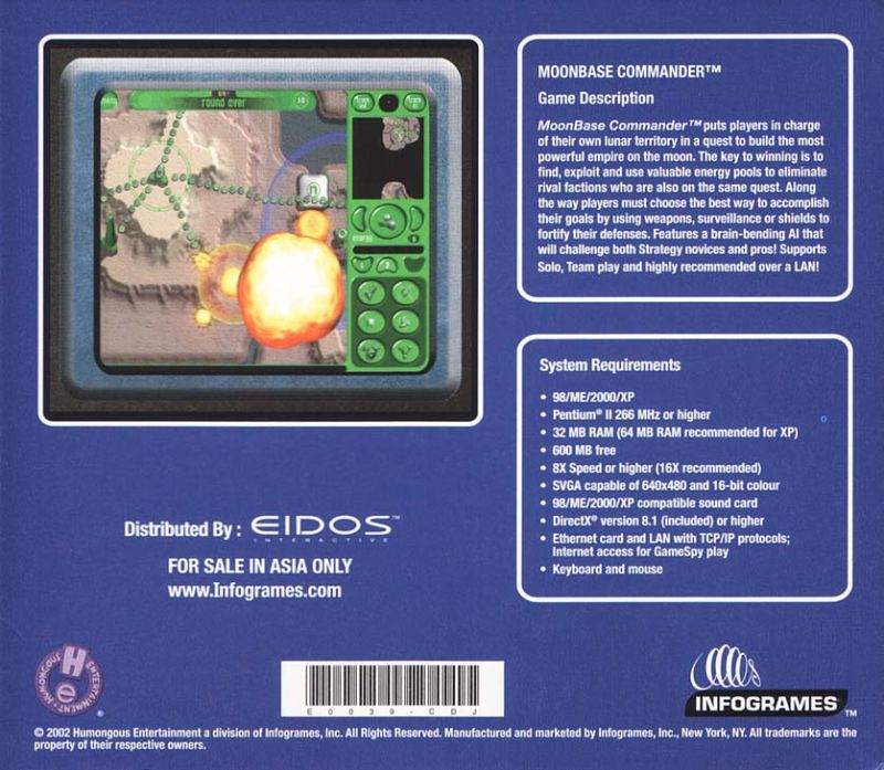 Moonbase Commander Windows Back Cover