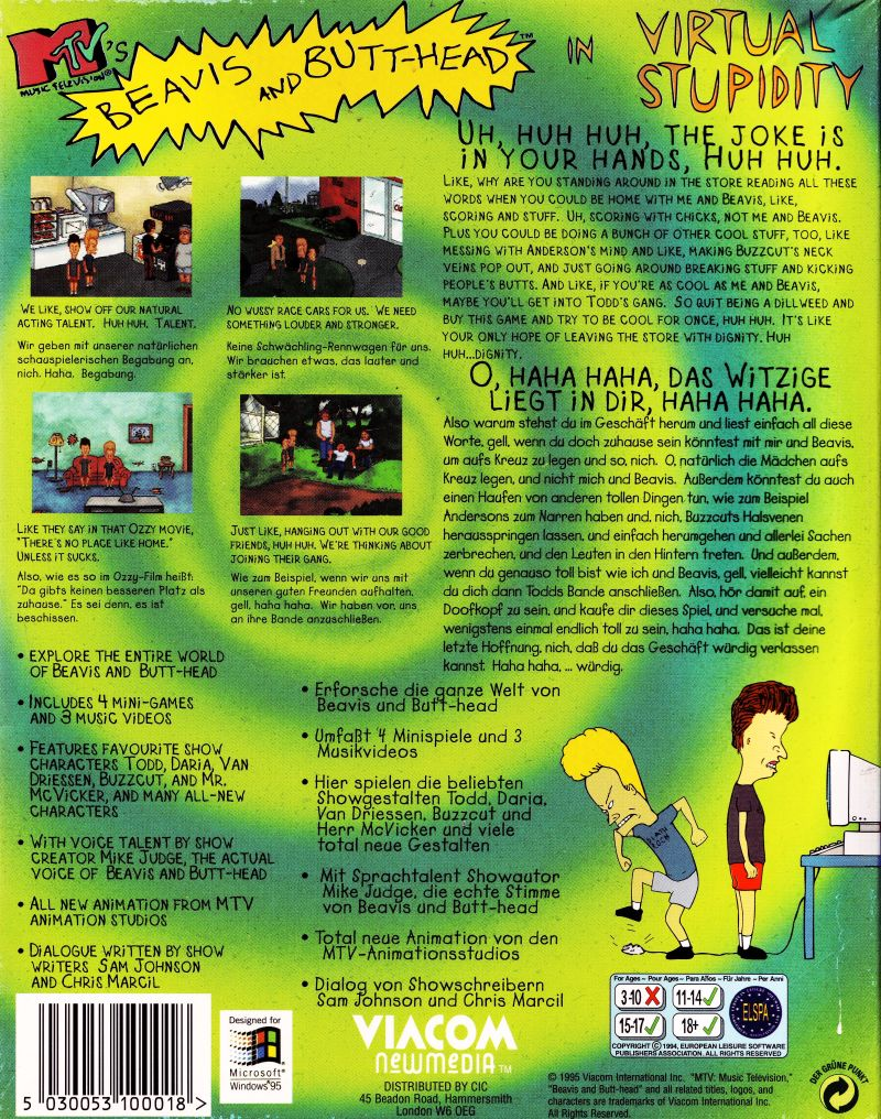 MTV's Beavis and Butt-Head in Virtual Stupidity Windows Back Cover