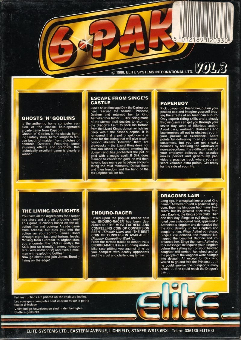 6*Pak Vol. 3 Commodore 64 Back Cover
