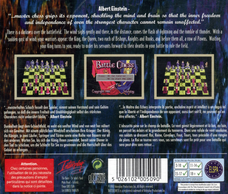 Battle Chess Amiga CD32 Back Cover