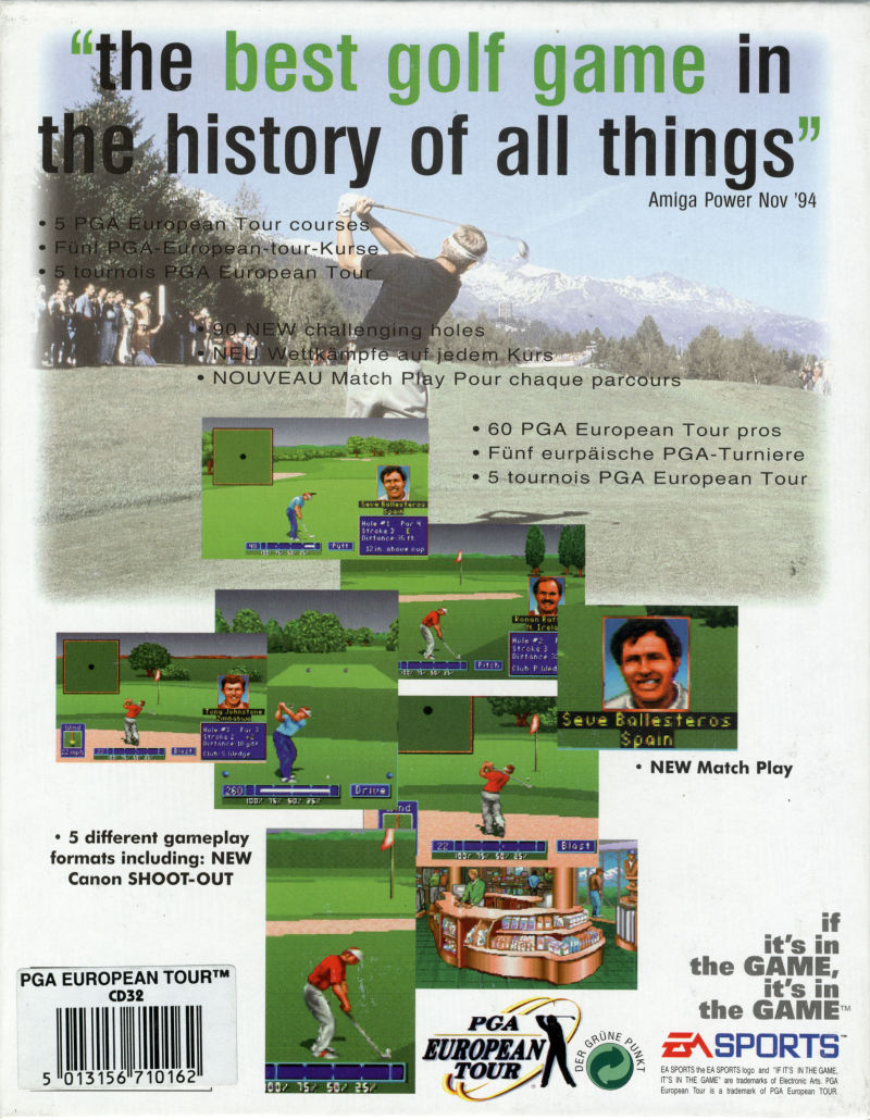 PGA European Tour Amiga CD32 Back Cover