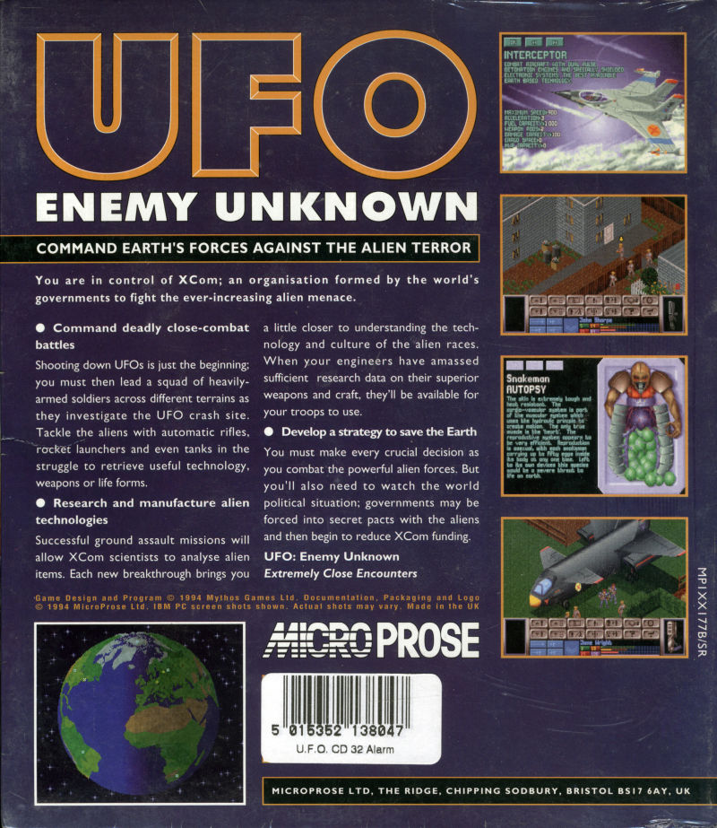 X-COM: UFO Defense Amiga CD32 Back Cover