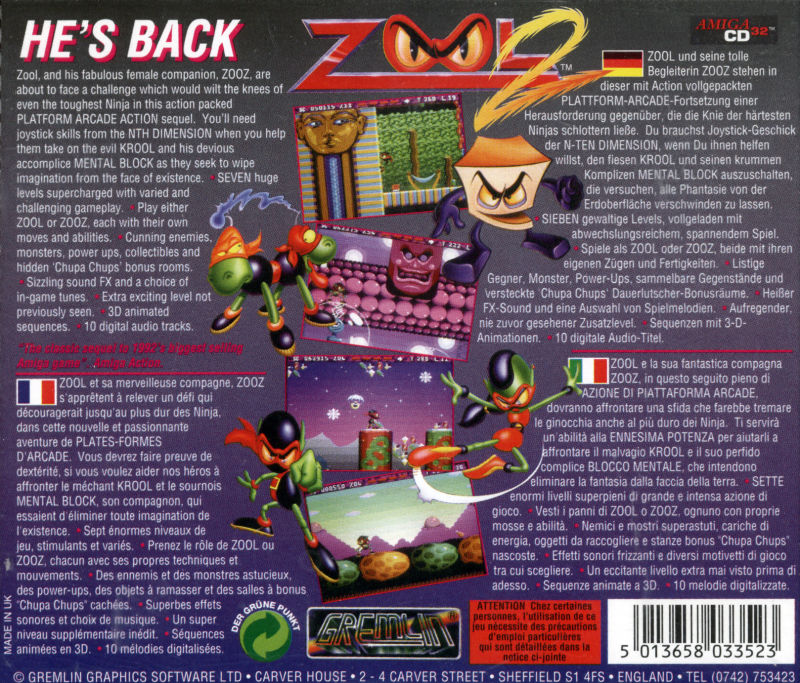 zool   amiga cd box cover art mobygames