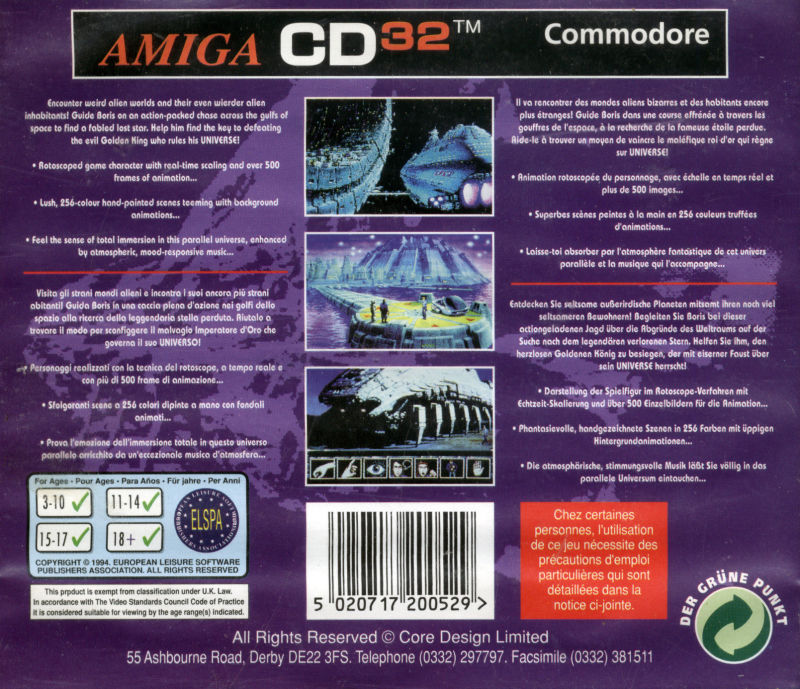 Universe Amiga CD32 Back Cover