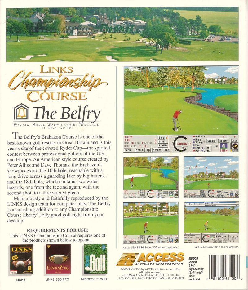 Links: Championship Course - The Belfry DOS Back Cover
