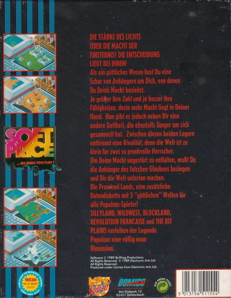 Populous / Populous: The Promised Lands DOS Back Cover