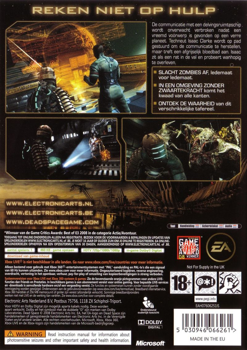 dead space 2008 xbox 360 box cover art mobygames rh mobygames com Best Dead Space Game Dead Space in a Nut Shell