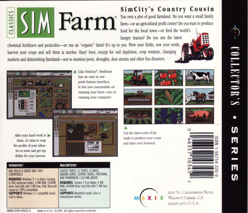 SimFarm DOS Other Jewel case back
