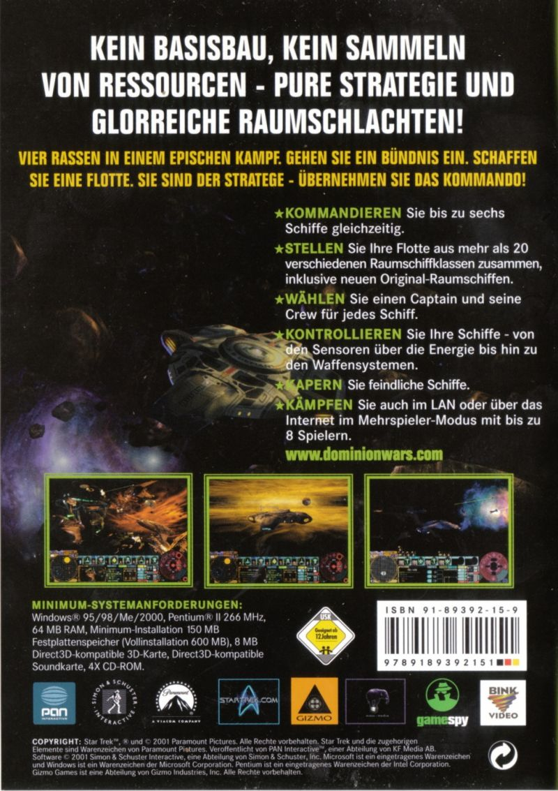 Star Trek: Deep Space Nine - Dominion Wars Windows Back Cover