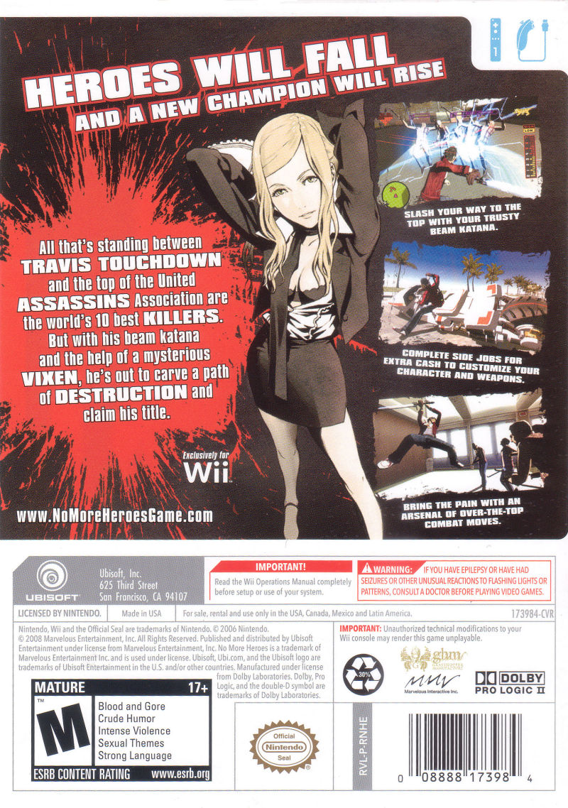No More Heroes Wii Back Cover