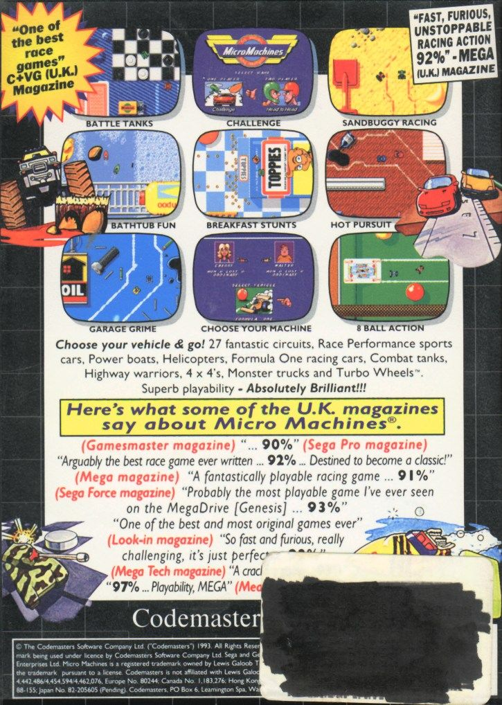 Micro Machines Genesis Back Cover