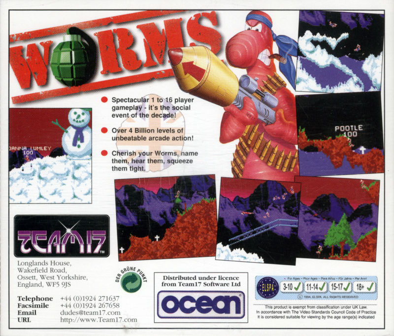 Worms Amiga CD32 Other Jewel Case - Back