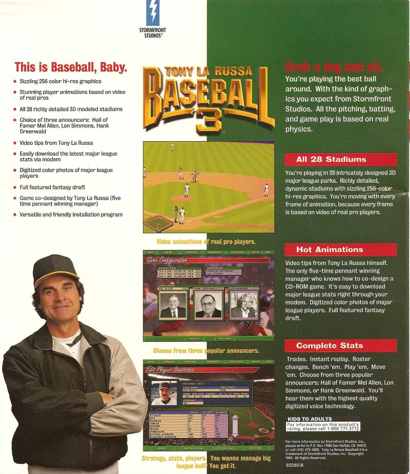 Tony La Russa Baseball 3 DOS Back Cover