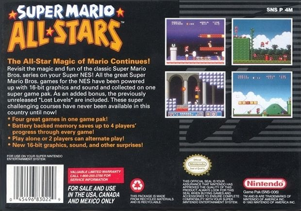 Super Mario All-Stars SNES Back Cover