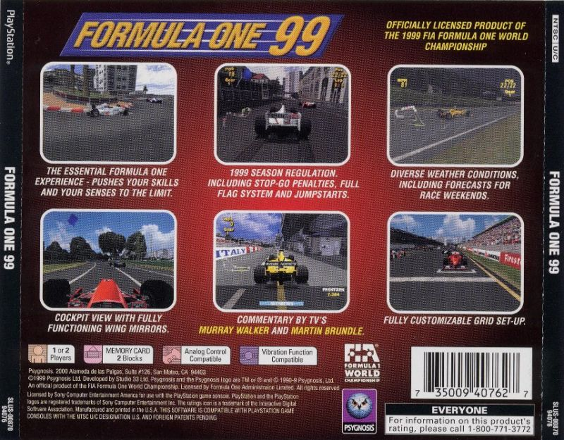 Formula One 99 PlayStation Back Cover