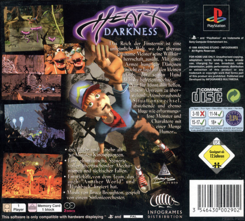 Heart of Darkness PlayStation Back Cover