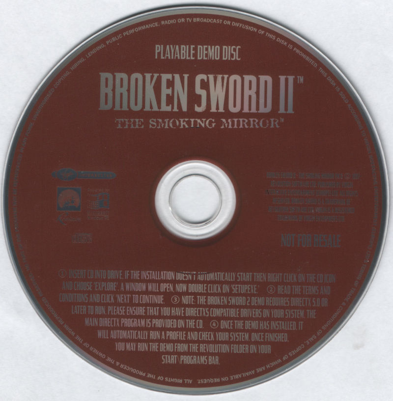 Circle of Blood DOS Media Playable Broken Sword II Demo