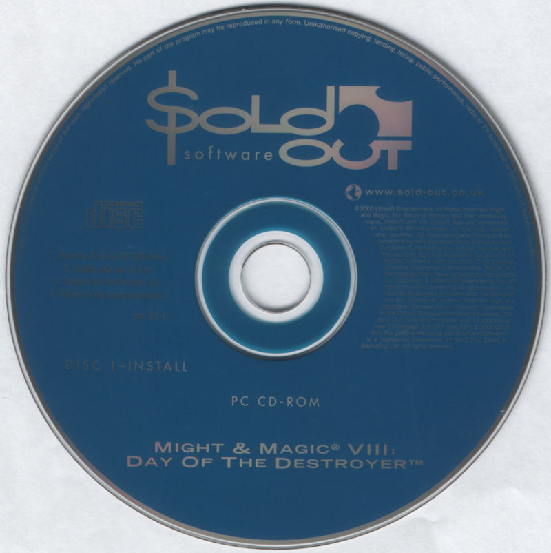 Might and Magic VIII: Day of the Destroyer Windows Media Disc 1/2 - Install