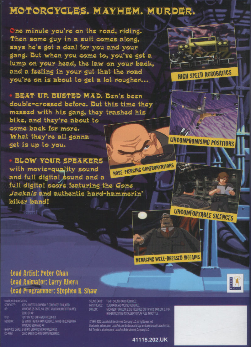 Full Throttle Windows Back Cover