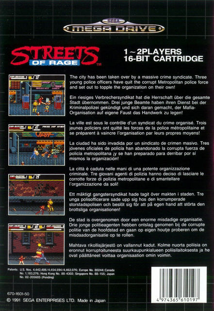 Streets of Rage Genesis Back Cover