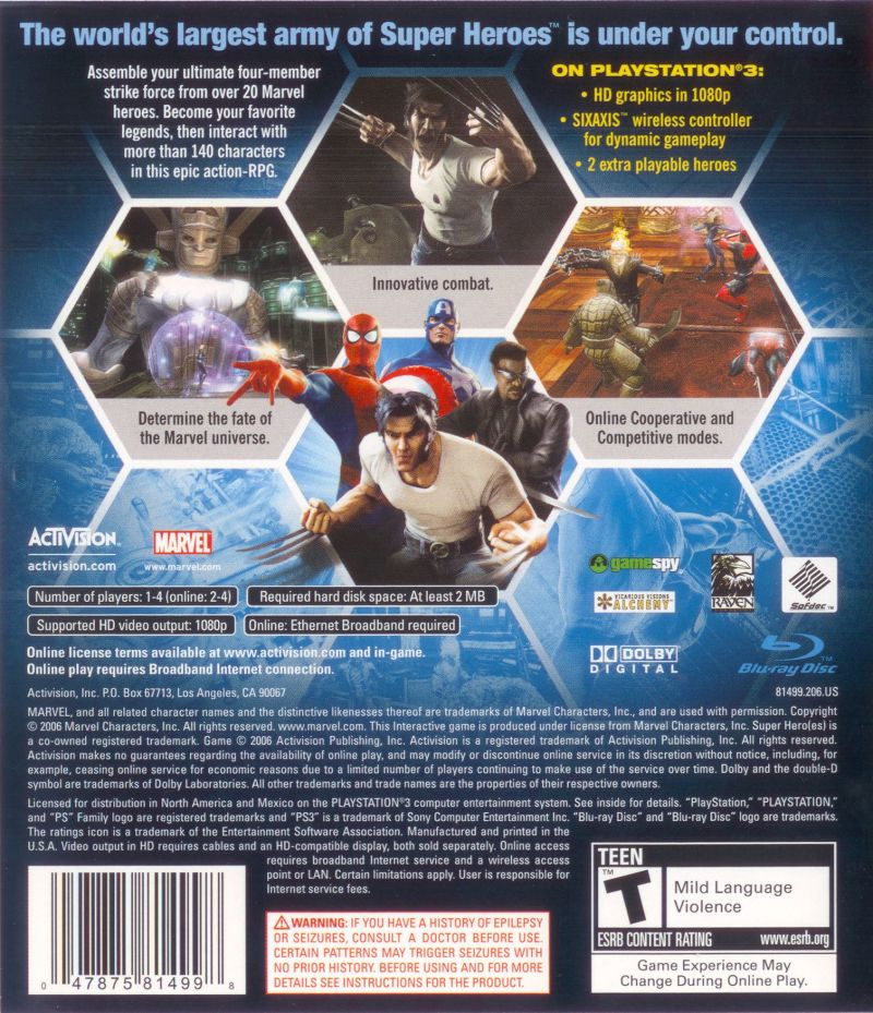 Marvel Ultimate Alliance (2006) PlayStation 2 box cover art