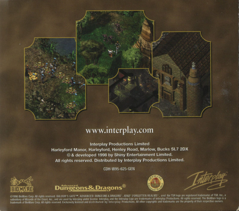 Baldur's Gate Windows Other Cardboard Case - Back