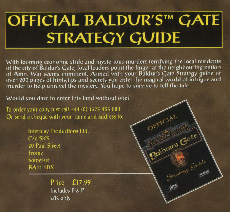 Baldur's Gate Windows Other Cardboard Case - Inside