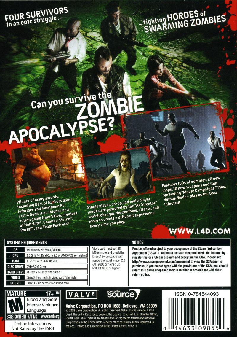 Left 4 Dead Windows Back Cover
