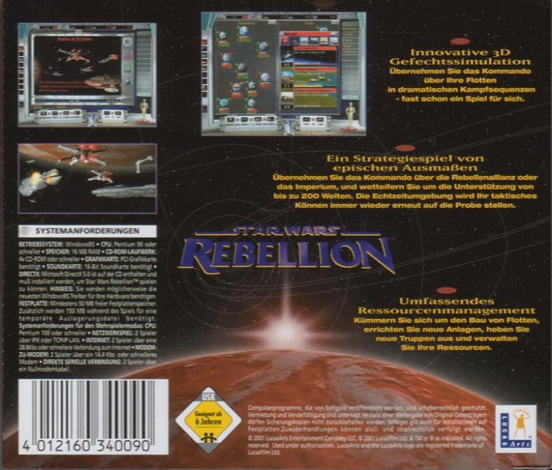 Star Wars: Rebellion Windows Back Cover Budget