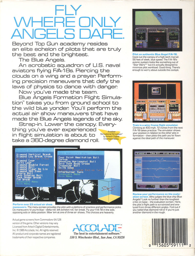 Blue Angels: Formation Flight Simulation DOS Back Cover