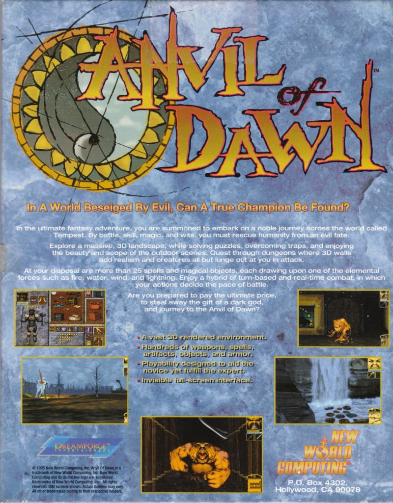 Anvil of Dawn (1995) DOS box cover art - MobyGames
