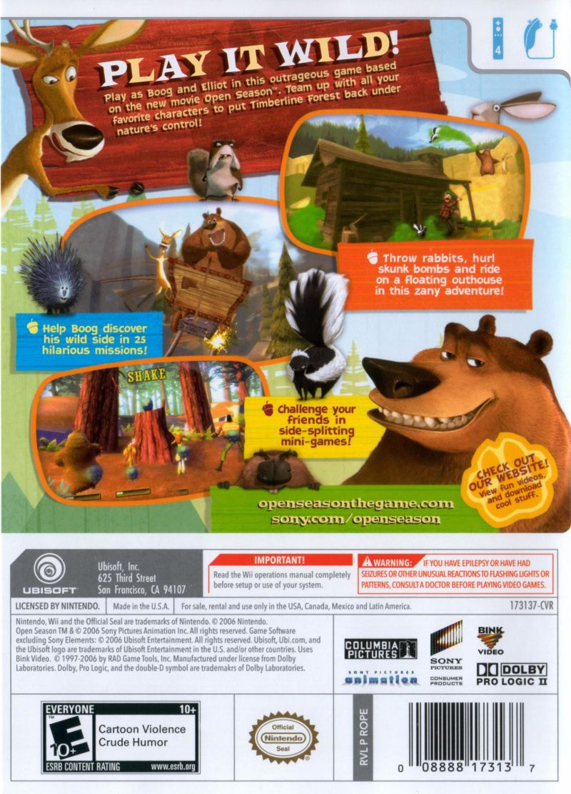 Open Season Wii Back Cover