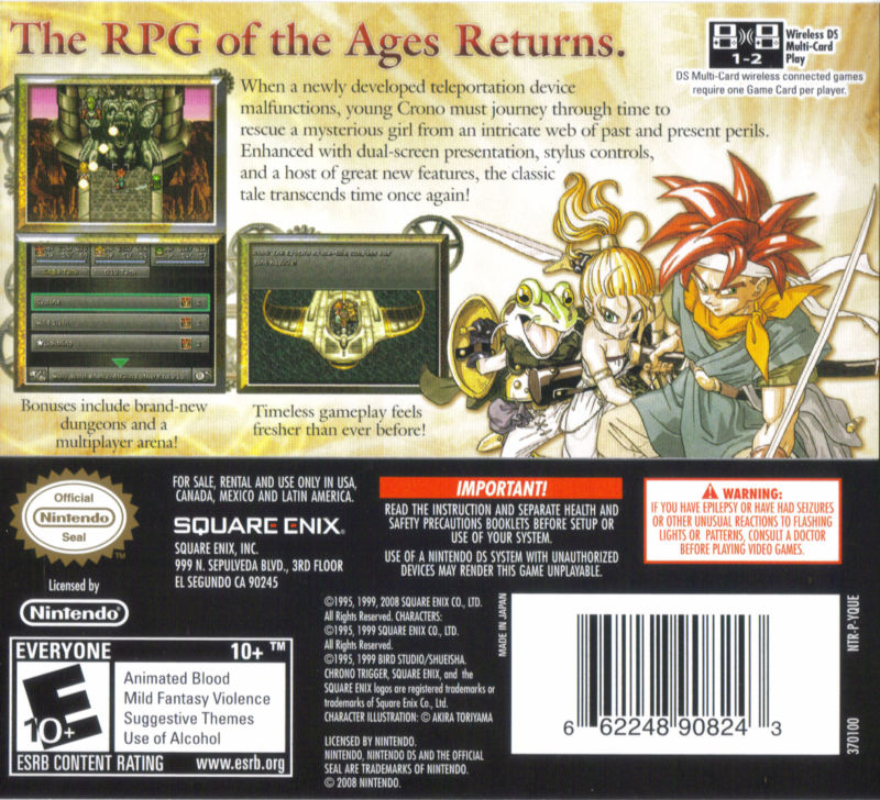 Chrono Trigger Nintendo DS Back Cover