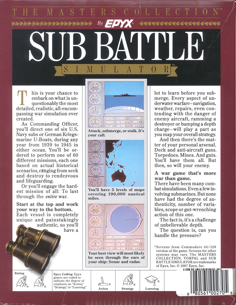 Sub Battle Simulator DOS Back Cover