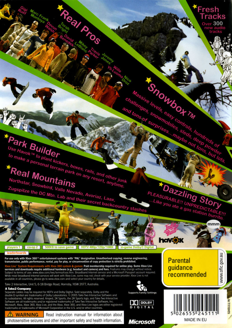 Amped 3 Xbox 360 Back Cover