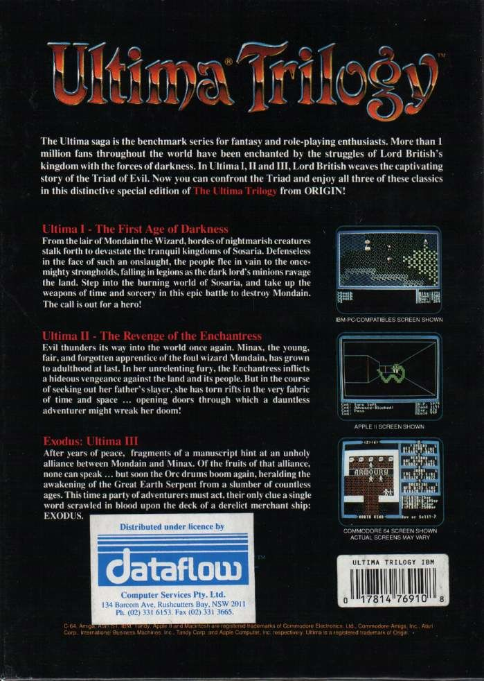 Ultima Trilogy: I ♦ II ♦ III DOS Back Cover