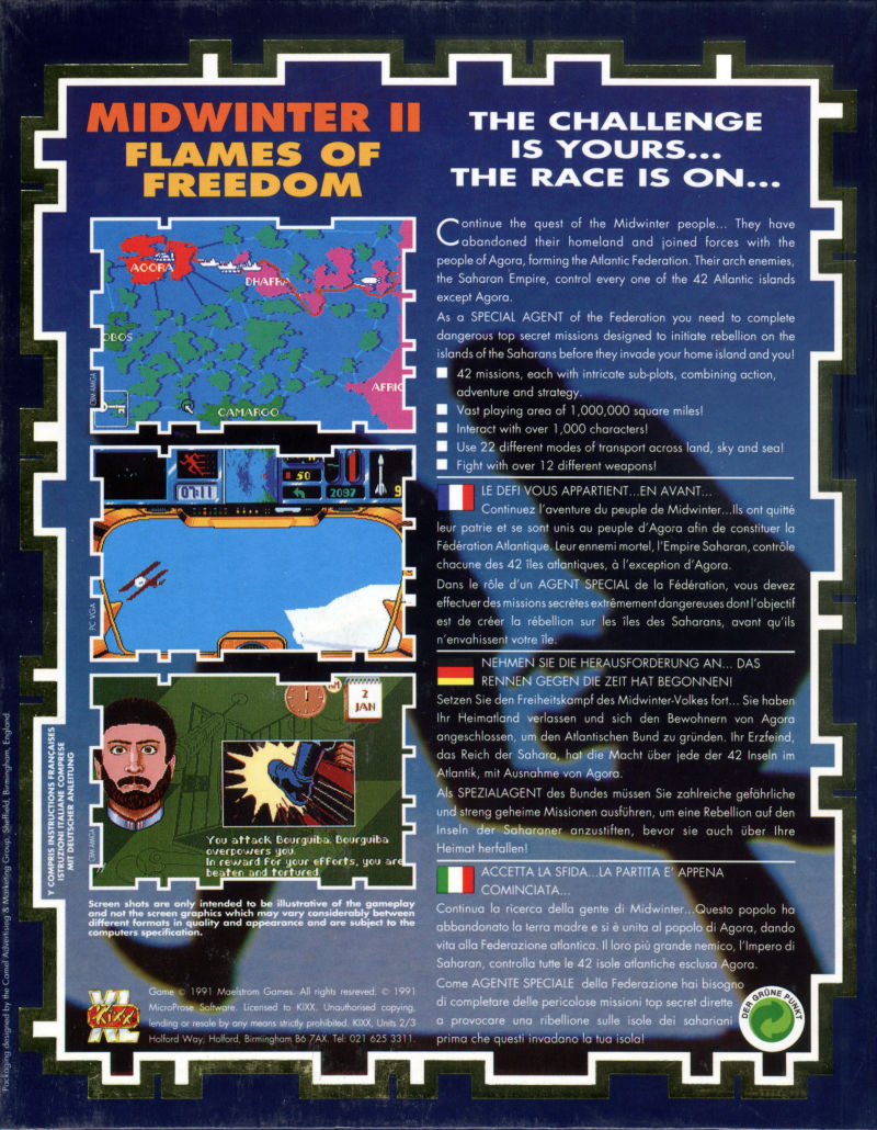 Flames of Freedom Amiga Back Cover