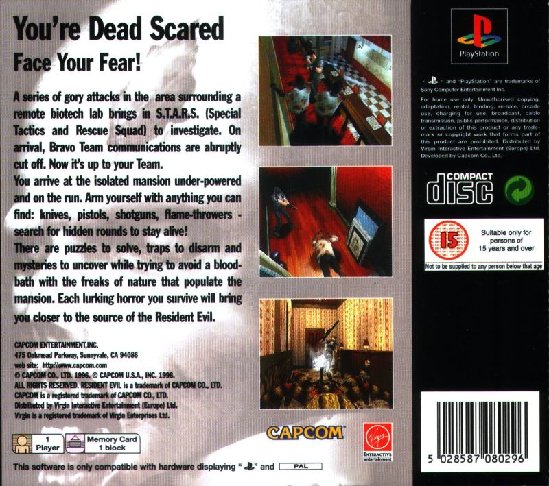 Resident Evil PlayStation Back Cover