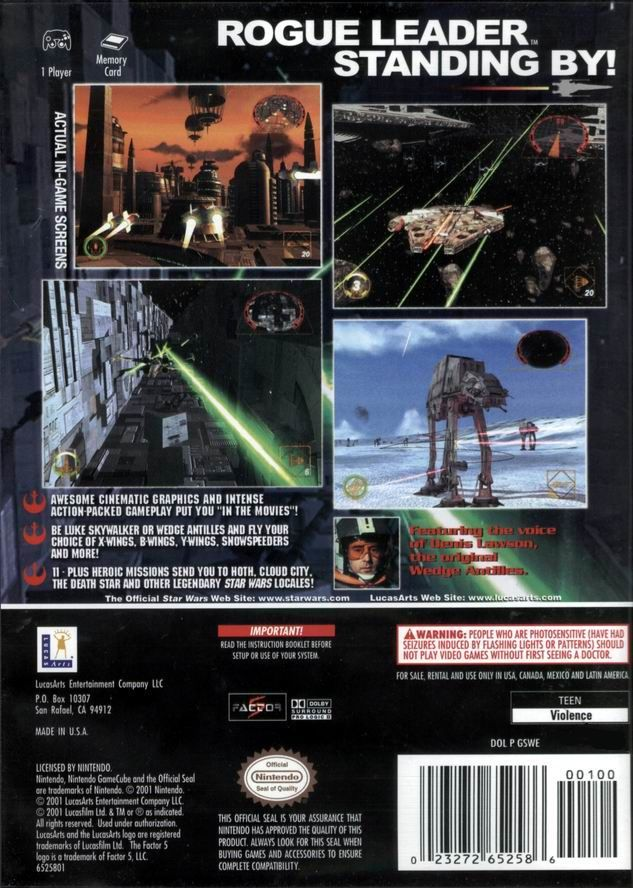 Star Wars: Rogue Squadron II - Rogue Leader GameCube Back Cover