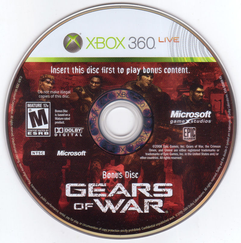 Gears of War (2-Disc Edition) Xbox 360 Media Bonus disc